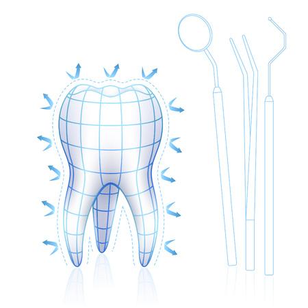 Blue print Art Design von Zahn mit Gitter und Zahnarzt-Tools wie Spiegel, Zangen und Pick Standard-Bild - 59003732