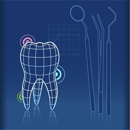 Blue print Art Design von Zahn mit Gitter und Zahnarzt-Tools wie Spiegel, Zangen und Pick Standard-Bild - 59003731
