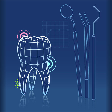 tongs: Blue print type design of tooth with grid and dentist tools like mirror, tongs and pick