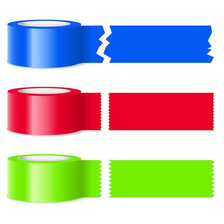 Drei Rollen von bunten Band mit verschiedenen Perforationen auf abgetrennten Abschnitte isoliert auf weißem Standard-Bild - 59003733