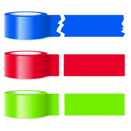 sections: Three rolls of colorful tape with assorted perforations on severed sections isolated on white