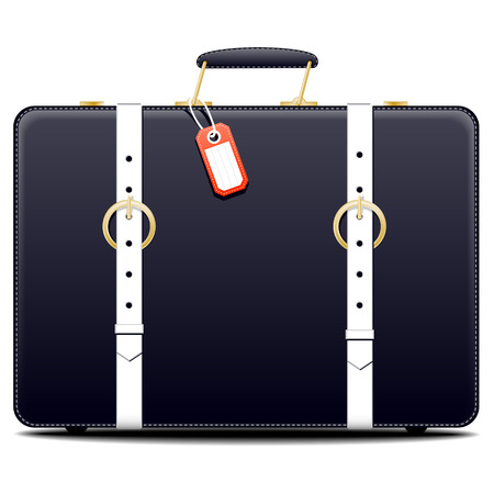 blank tag: Side view on single old fashioned black suitcase with blank tag on isolated white background with set down shadow