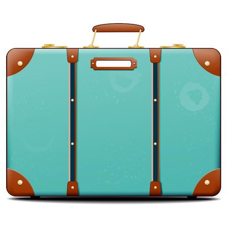 Seitenansicht auf einzelne altmodischen türkis Koffer mit leeren Tag auf isolierten weißen Hintergrund mit festgelegten Schatten Standard-Bild - 59003702