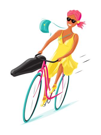 Junge Frau Reiten ein Fahrrad bei der Geschwindigkeit mit ihrer Handtasche am Lenker in den Wind und eine Geige oder eine Gitarre Fall angebracht blasen, bunte Vektor-Illustration Standard-Bild - 70355739