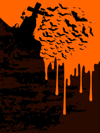 flying bats: Creepy Halloween graveyard vector background with flying bats over a gravestone formed in dripping blood