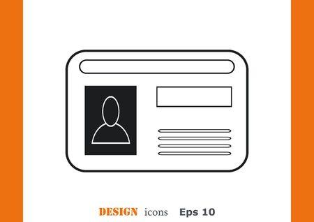 determining: Document determining identity icon. Illustration