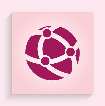 alfa: Holding globe, social network icon