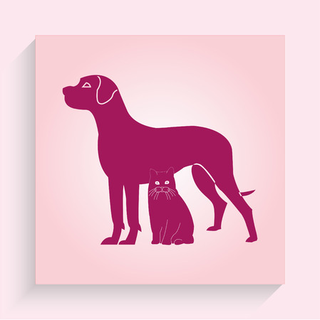 licking: Stock Vector Illustration: cat and dog symbol of veterinary medicine Illustration