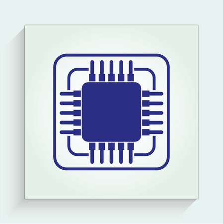 high technology: Circuit board, technology icon, vector illustration. Flat design style