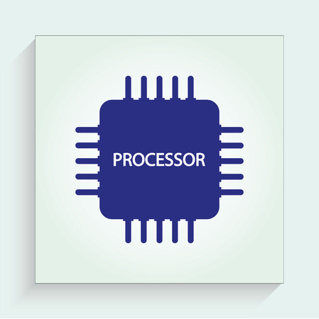 high technology: CPU and electronic chip icon, vector illustration. Flat design style
