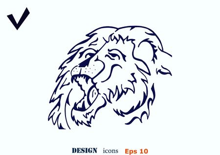 angry lion: Vector illustration of the evil head, ferocious, aggressive lion. Predatory, dangerous beast. Angry lion.