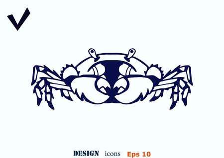 crabby: Vector illustration of a crab. Logo, graphics, seafood. Marine reptile.