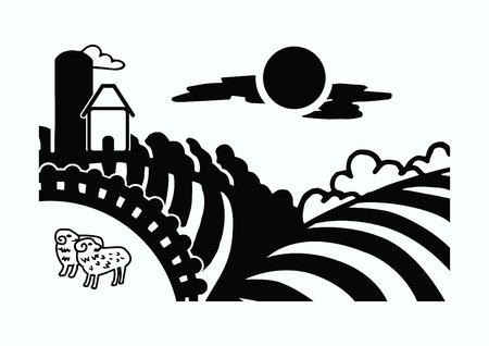 cultivated land: Retro landscapes. Editable EPS10 vector illustration, Agriculture field.