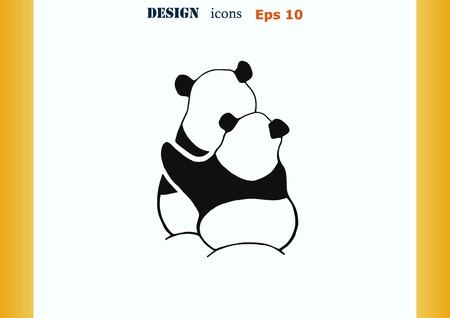 one panda: Vector illustration of a panda. The giant panda.