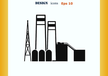 silhouette industrial factory: Factory silhouette icon. Vector Illustration. Industrial landscape. Heavy industry logo.