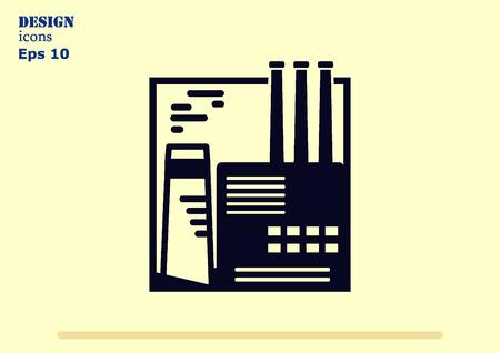 paesaggio industriale: Factory silhouette icon. Vector Illustration. Industrial landscape. Heavy industry. Vettoriali