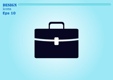 leather briefcase: Portfolio, Leather briefcase icon. Illustration