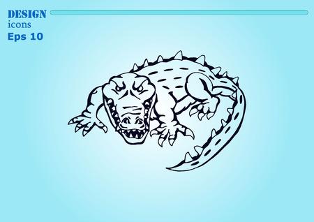 caiman: Vector illustration of the evil head, ferocious, aggressive crocodile. Predatory, dangerous beast. Angry alligator, caiman. Illustration