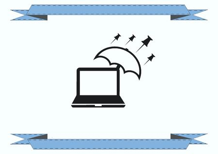 protecting your business: Protecting your computer laptop icon Illustration