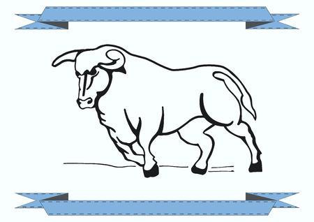 bull head: Vector illustration of the evil head, ferocious, aggressive bull. Predatory, dangerous beast. Angry bison.