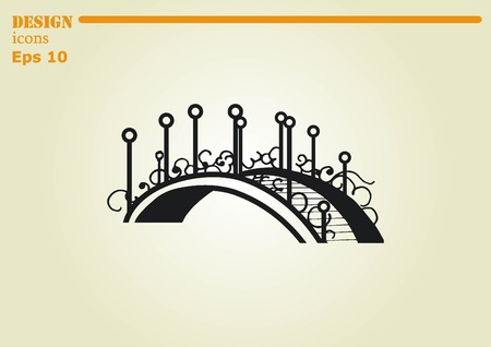 City silhouette icon. Vector illustration. logo bridge. Bridge over river. City landscape. Illustration
