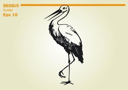 Bird icon. Heron, Stork vector illustration.