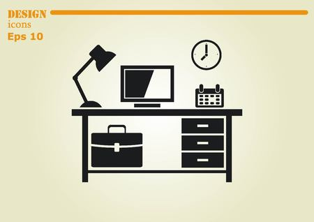 protecting your business: Computer on the table icon. Workplace programmer icon. Illustration