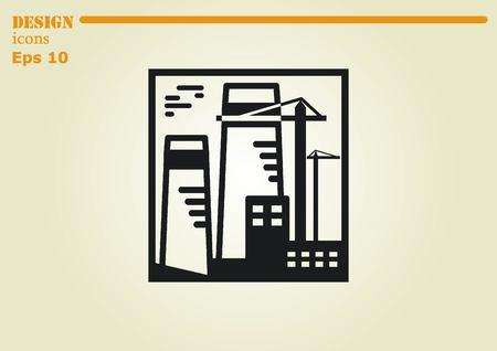 paesaggio industriale: Fabbrica silhouette icona. Illustrazione vettoriale. Paesaggio industriale.