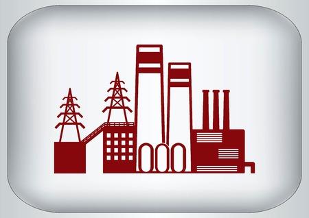 paesaggio industriale: Fabbrica silhouette icona. Illustrazione vettoriale. Paesaggio industriale. Industria pesante. Vettoriali