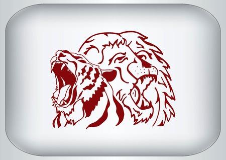 predatory: Vector illustration of the evil head, ferocious, aggressive lion. Predatory, dangerous beast. Angry lion.