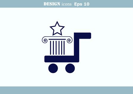 eshop: Shopping trolley, cart icon, On line sale icon Illustration