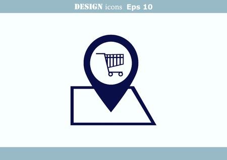 cookware: Shopping trolley, cart icon, On line sale icon Illustration