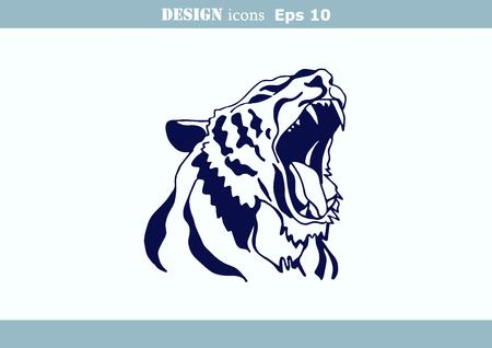 predatory: illustration of an evil, savage, aggressive tiger. Predatory, dangerous beast.
