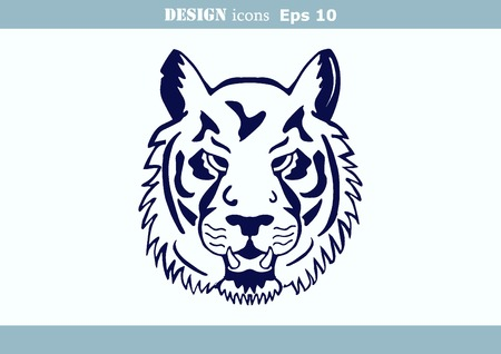 dangerous: illustration of an evil, savage, aggressive tiger. Predatory, dangerous beast.