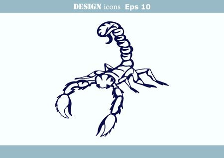 predatory: illustration of an evil, savage, aggressive scorpion. Predatory, dangerous beast. Angry poisonous spider.