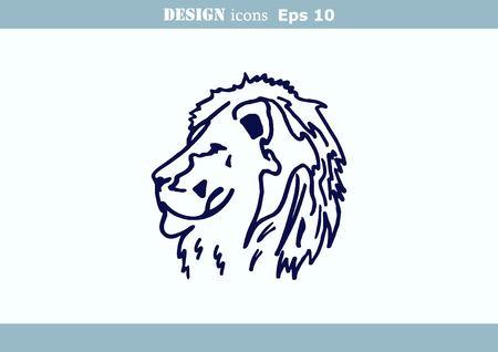 angry lion: illustration of the evil head, ferocious, aggressive lion. Predatory, dangerous beast. Angry lion. Illustration