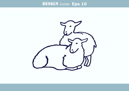 illustration of a sheep. Flock of sheep.