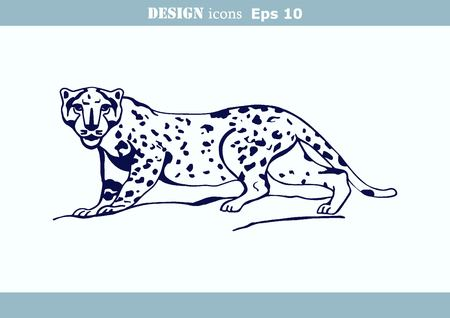 offensive: illustration of an evil, wild, aggressive leopard. Prey, cheetah dangerous. Offensive cougar. Panther.