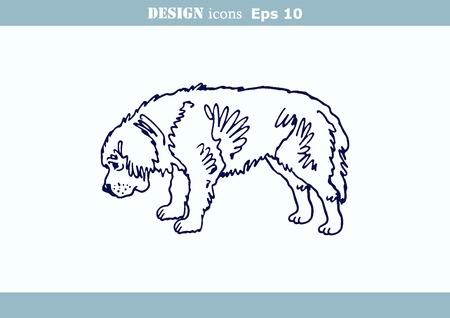 dog bite: illustration of a dog. Aggressive purebred dog. Illustration