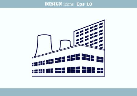 factory silhouette: Factory silhouette icon.