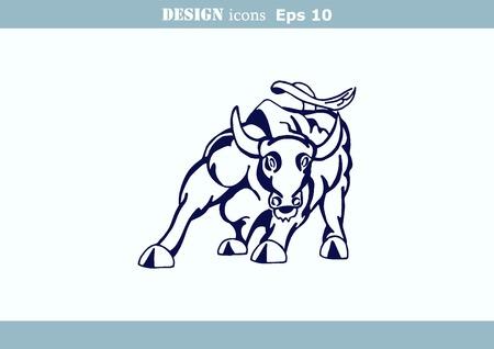 predatory: illustration of the evil head, ferocious, aggressive bull. Predatory, dangerous beast. Angry bison.