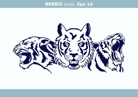 illustration of an evil, savage, aggressive tiger. Predatory, dangerous beast.