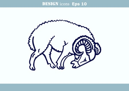 flock of sheep: illustration of a sheep. Flock of sheep. sheep icon. Illustration