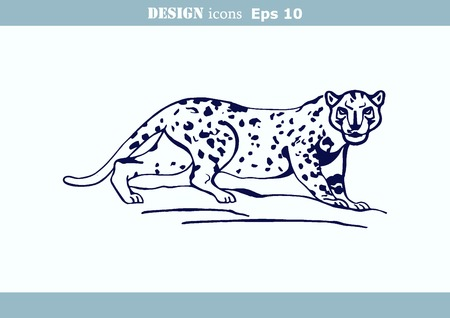 illustration of an evil, wild, aggressive leopard. Prey, cheetah dangerous. Offensive cougar. Panther.