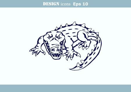 caiman: illustration of the evil head, ferocious, aggressive crocodile. Predatory, dangerous beast. Angry alligator, caiman.