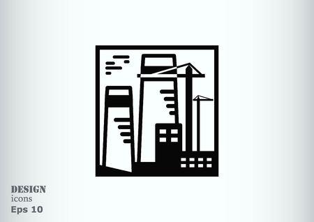 paesaggio industriale: Fabbrica silhouette icona. Illustrazione vettoriale. Paesaggio industriale. Heavy logo industria.