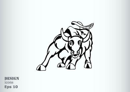 predatory: Vector illustration of the evil head, ferocious, aggressive bull. Predatory, dangerous beast. Angry bison.