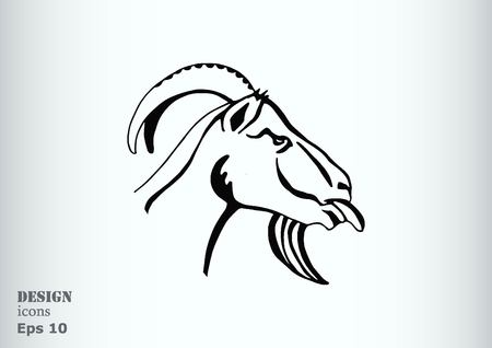 aries: Vector illustration of a goat. Mountain argali.