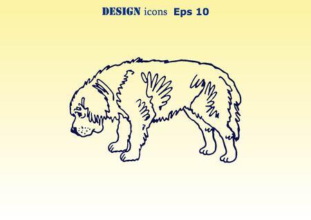 ear protection: Vector illustration of a dog. Aggressive purebred dog. Stock Photo