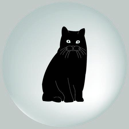 licking: Cat icon Stock Photo